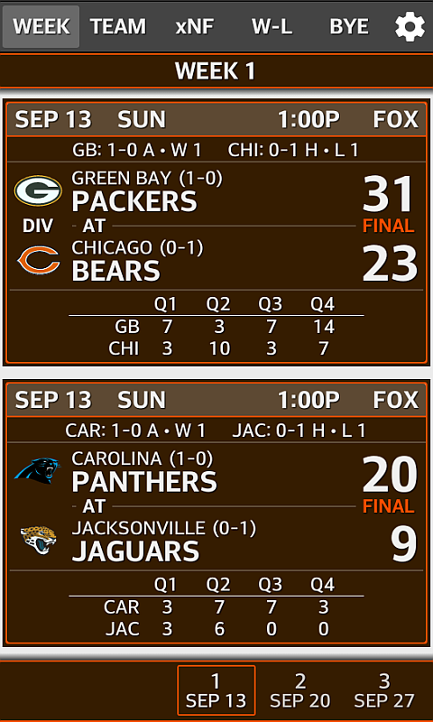 Football NFL Schedule & Scores- screenshot