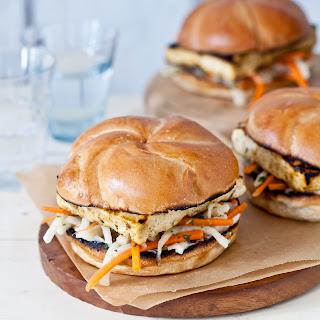 Glazed Tofu Sandwiches with Jicama Slaw
