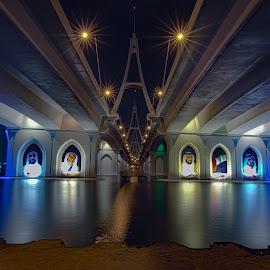 BBB by Shabbir Shani - Buildings & Architecture Bridges & Suspended Structures ( expocity, dubai photographer, mydubai, nightscape, bridge, long exposure, travel, architecture )