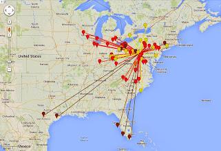 Photo: K8GP/R - FN00rg 50-432 MHz QSO map - ARRL June VHF 2014 - Brn=50 Red=144 Org=222 Yel=432