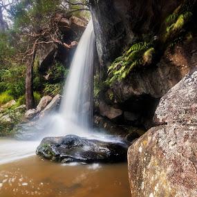 Boulder by Geoffrey Wols - Nature Up Close Water ( forest, green, rocks, waterfall, bush, girakool, water,  )