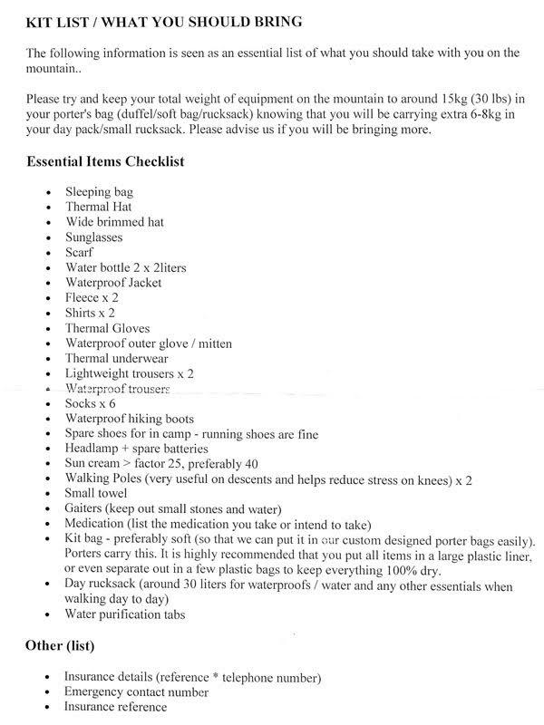 Item Checklist