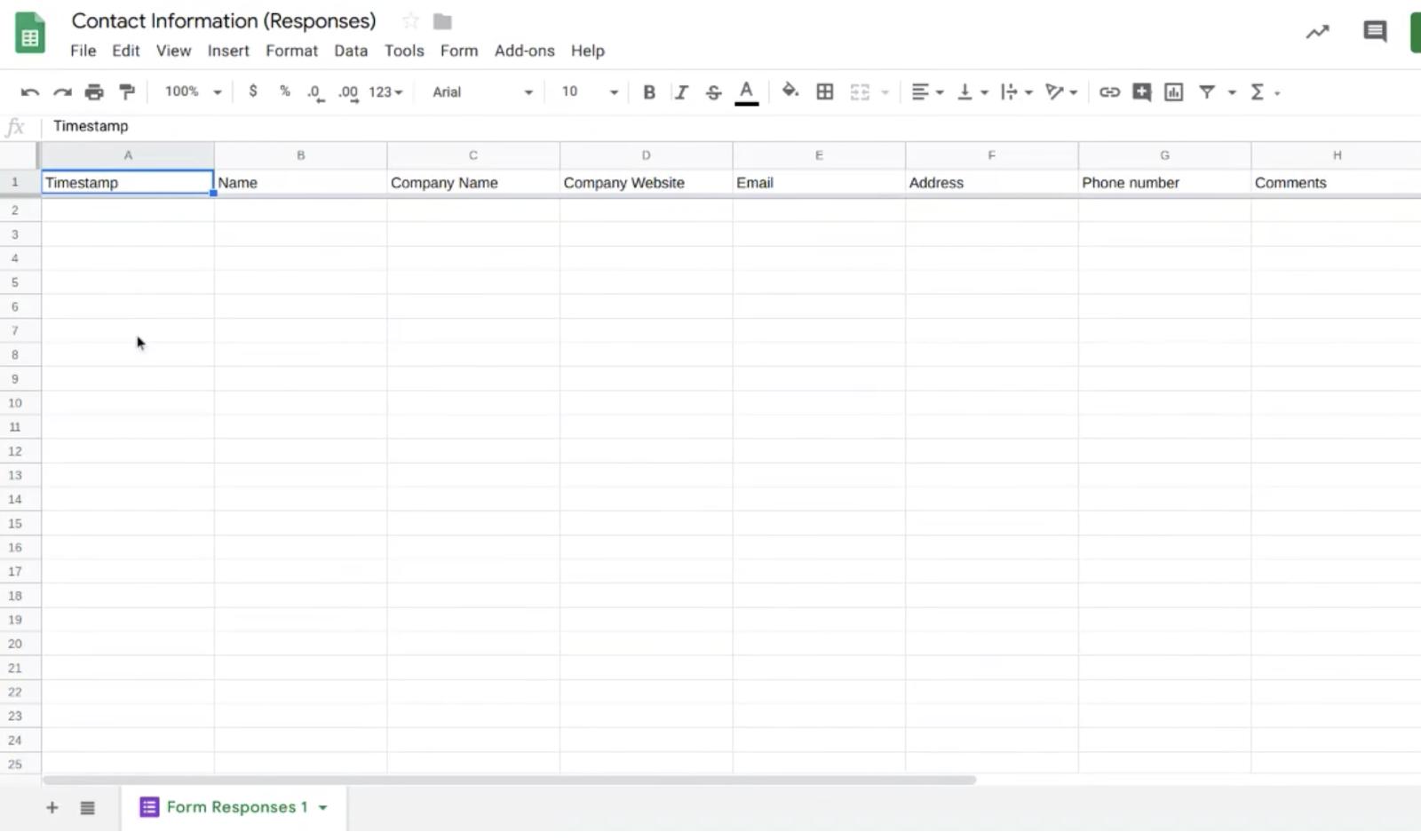 Google Sheets Contact Information Sheet