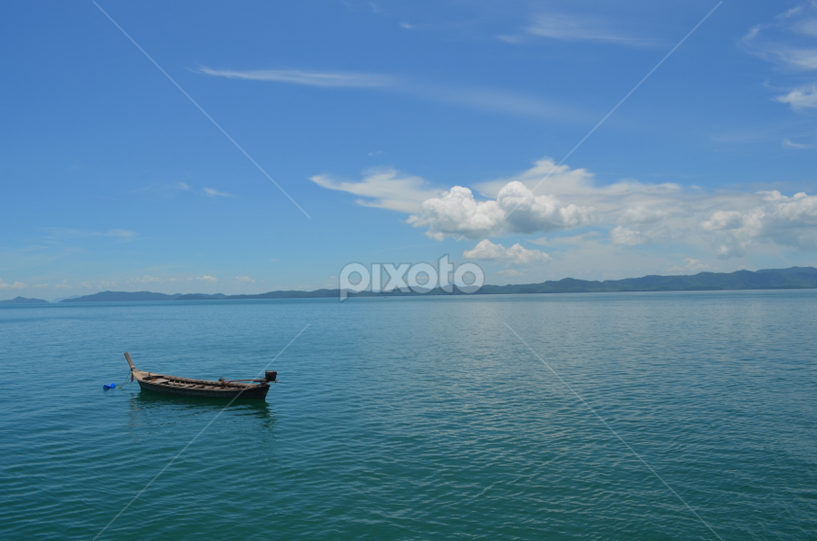Not The Life of Pi by Azzah Rahman - Landscapes Waterscapes ( clear water, sampan, sea, canoe, phuket, boat )