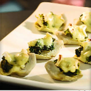 Spinach-&-Brie-Topped Artichoke Hearts.