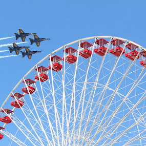 The Blue Angels by Maureen Rueffer - City,  Street & Park  Amusement Parks ( flying, blue sky, red, chicago, ferris wheel, airshow, blue angels,  )