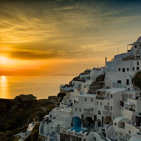 santorini sunset by Charlie Davidson - City,  Street & Park  Vistas ( clouds, sunset, beautiful, seascape, sun, island )