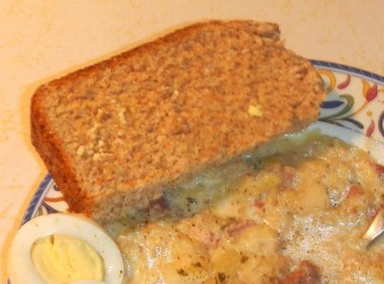 Picture of the cooked bread, shown with my CREAMED CABBAGE CHOWDER recipe.If you need...