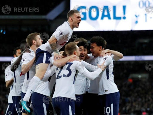 Tottenham players celebrate during a past match