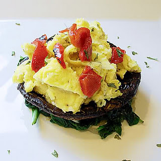 Grilled Portobello Mushrooms with Eggs, Spinach and Roasted Peppers