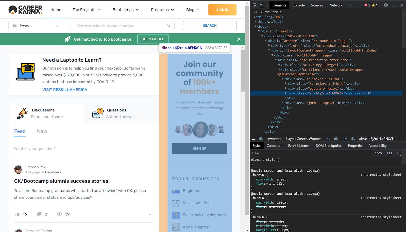 screenshot-of-career-karma-honepage-with-HTML-elements-displayed