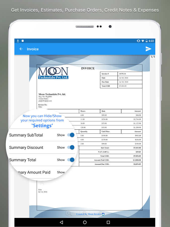Moon Invoice & Estimate App- screenshot