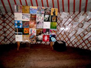 """Photo: The HR flag After exhibitions in Denmark, Holland, Portugal and Canada, The Human Rights flag created by 29 artists from 20 different countries, all members of the GLOBAL VILLAGE CREARTIST group in Facebook will be exhibited in the exhibition """"Border breaking Art"""": """"Grænseoverskridende Kunst"""" i Skulpturhaven i Thy, hvor landsbyen Svankjær omdannes til en Skulpturlandsby Fernisering (VERNISSAGE) lørdag d. 25.maj kl. 13.30 med flere musikalske indslag og events.."""
