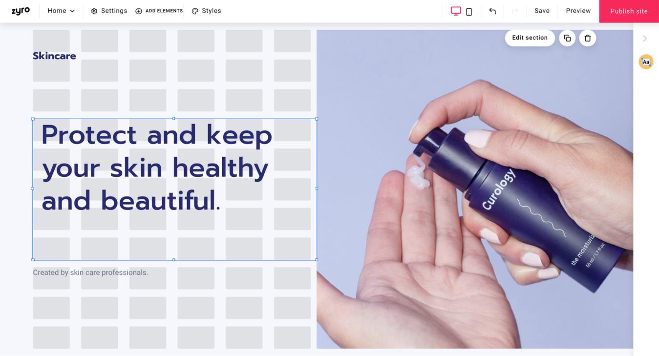 Products page website design on Zyro