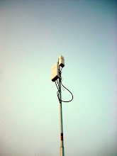 Photo: A Nanostation M5 and EOC-1650 (powered by the NSM5), strapped to the top of a homemade tripod.