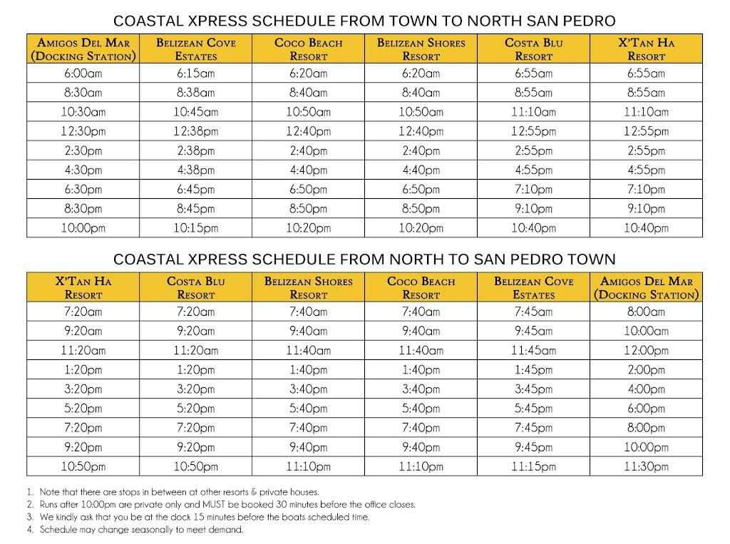 Coastal Express Schedule