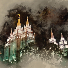 Salt Lake Temple Watercolor 2 by Valerie Aebischer - Digital Art Places ( mormon temples, temples, mormon temple, lds temple, temple, lds temples, salt lake lds temple )