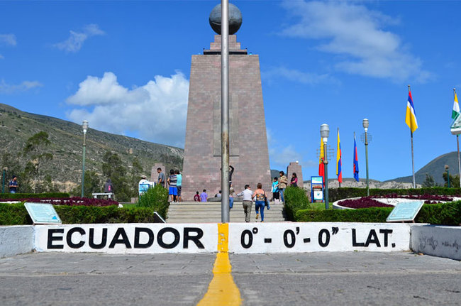 22) Northern and Southern Hemisphere - Not a national border this, but this park in Ecuador mark the point of zero degrees latitude, where the two hemispheres meet.