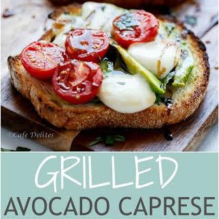 Grilled Avocado Caprese Crostini.