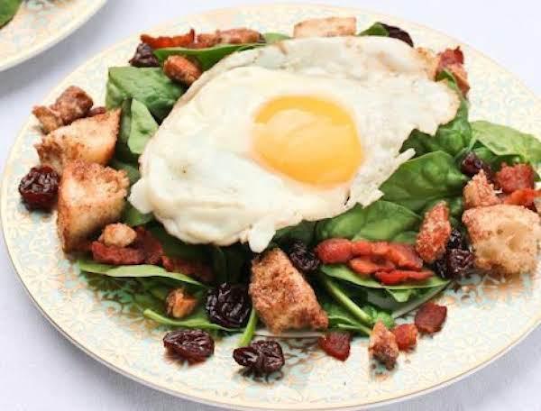 Spinach Breakfast Salad & Cinnamon Toast Croutons