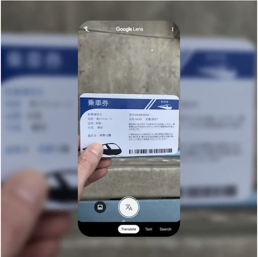 Use Google lens to scan and translate text