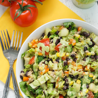 Tuna Black Bean Chipotle Salad with Cilantro Avocado Dressing.