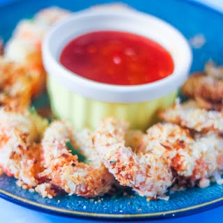 Crispy Baked Coconut Shrimp with Spicy Orange Dipping Sauce.