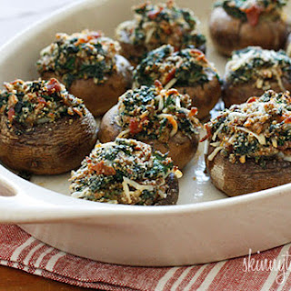 Skinny Spinach and Bacon Stuffed Mushrooms