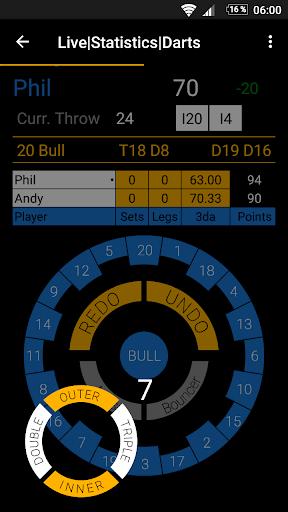 live statistics darts: scoreboard screenshot 2