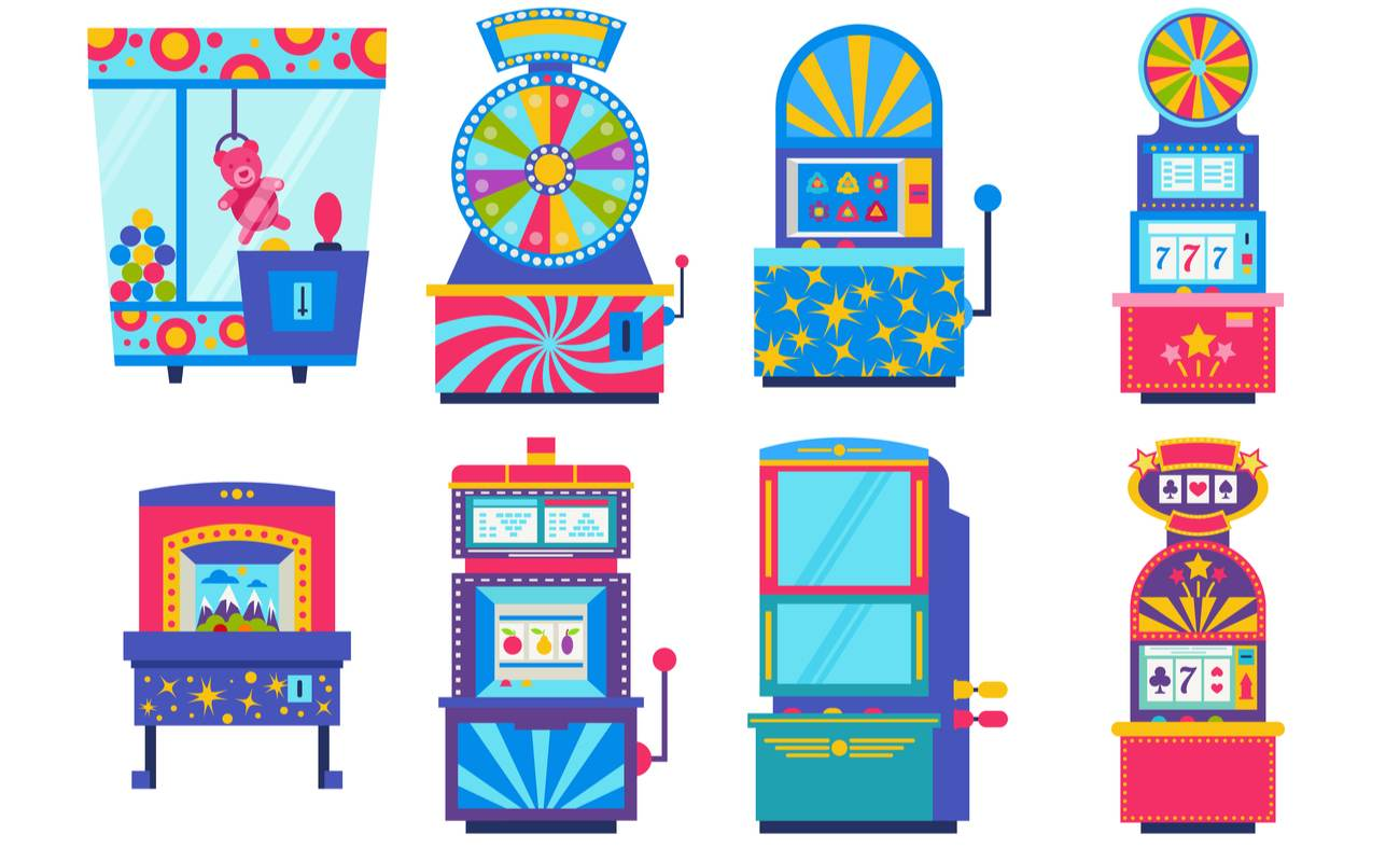 Various game machines and gambling games illustrated vector