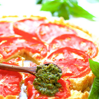 Tomato Ricotta Tart with Basil Pesto