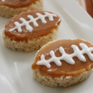 Salted Caramel Rice Krispies Football Treats! Recipe