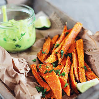 Baked Sweet Potato Fries with Avocado Dipping Sauce.