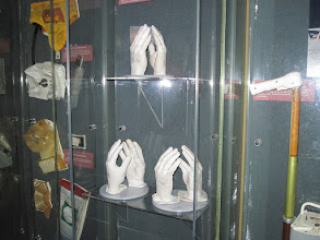 Photo: Hand molds of Apollo moonwalkers (top) Neil Armstrong, (left) Michael Collins and (right) Buzz Aldrin.  These were used to custom-make their space-suit gloves.