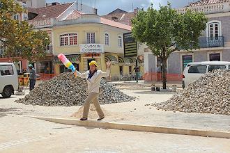 Photo: As obras na cidade foram o tema escolhido por uma das alunas