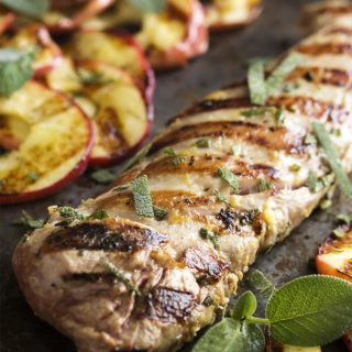 Easy Grilled Pork Tenderloin with Apples and Sage