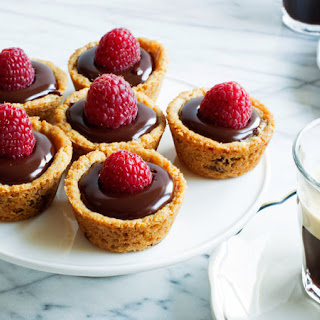 Easy Raspberry-Ganache Cookie Tarts.