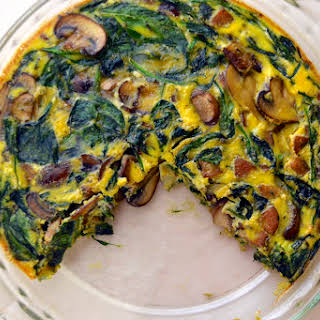 Mushroom, Spinach, and Sausage Crustless Quiche (Gluten Free and Dairy Free).