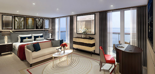 QM2-Queens-Grill-Suite.jpg - The Queens Grill Suites on Queen Mary 2 feature a large sitting area, walk-in closet, a spacious private balcony and butler service.