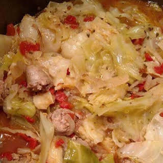 Pressure Cooker Cabbage and Sausage.