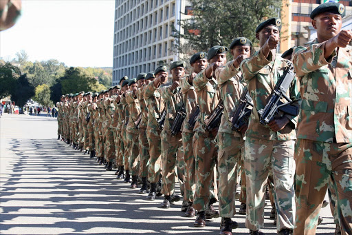 SANDF army parading in the streets of Mthatha after the 14 South African Infantry Batalion was bestowed the Freedom of Mthatha by the King Sabata Dalindyebo Municipality.