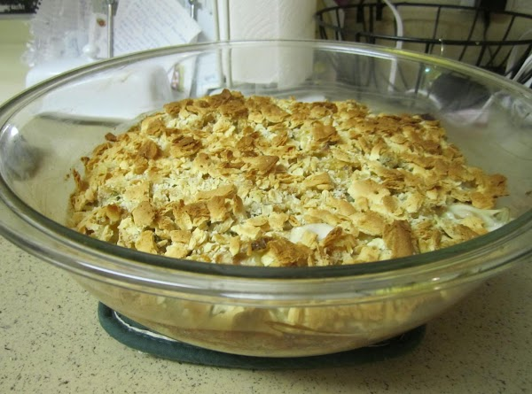 Crush saltines in your hands and cover the top of the casserole. (If I...