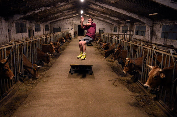Cattle breeder Pablo Pato practises in his stable in Llanuces, Spain.