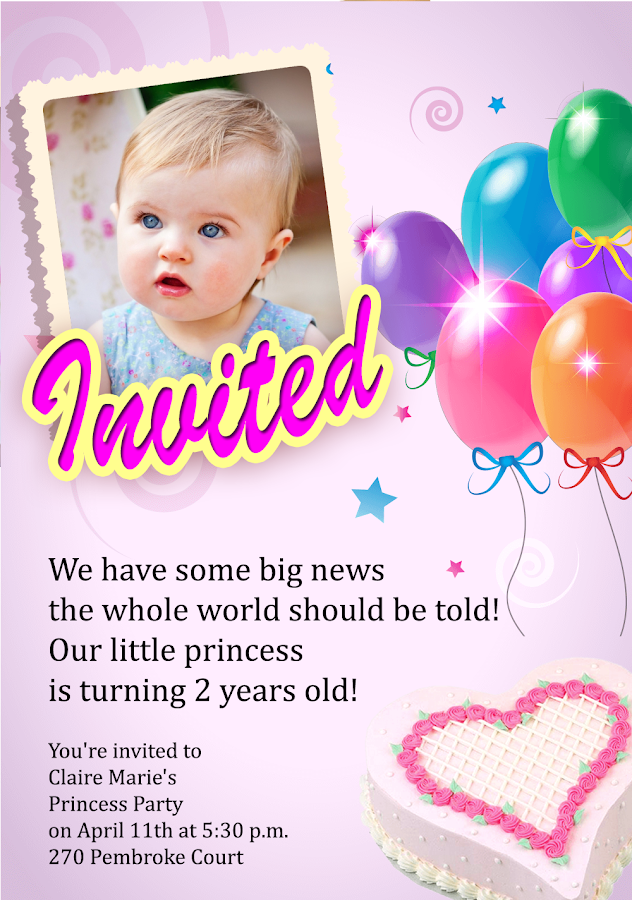 Birthday Party Invitation Screenshot