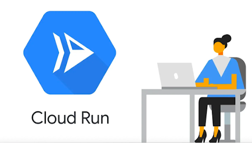 Large Cloud Run logo on left. Illustration of woman sitting at a desk in front of a laptop on the right.