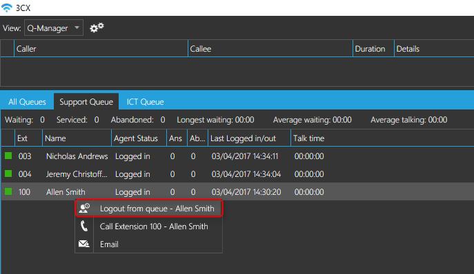Managing agent's queue status from your 3CX PBX
