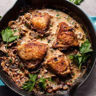 Crispy Chicken with Pancetta, Mushrooms and Bourbon