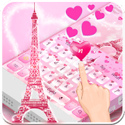 Pink Love Paris Eiffel Tower Keyboard Theme