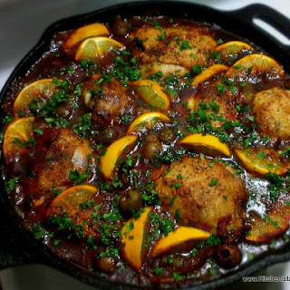 Moroccan Skillet Chicken with Lemons & Olives