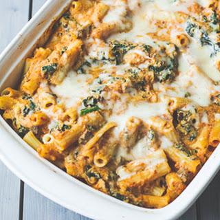Vegetarian Pumpkin and Kale Pasta Bake.